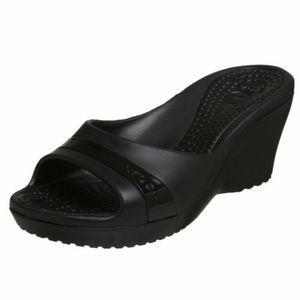 CROCS Sassari Black Wedge Sandal Size 6